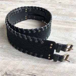 Cole Haan Leather Double Buckle Belt